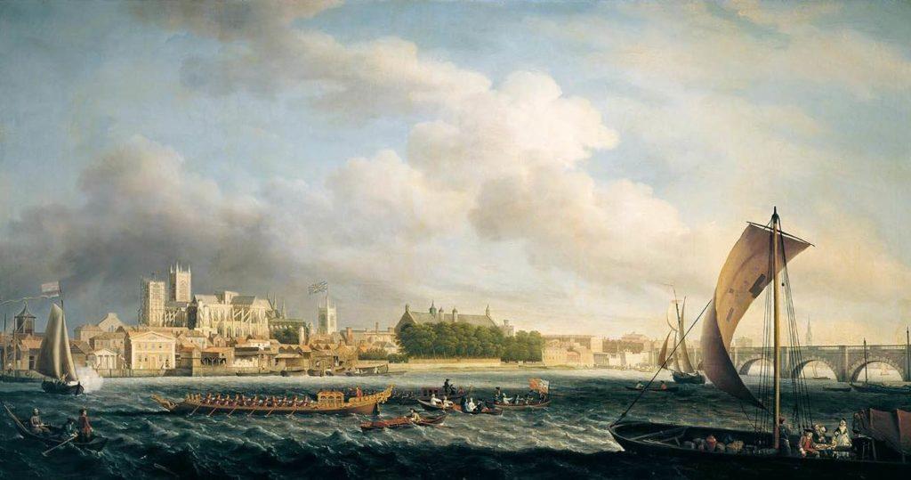 Barges sur la Tamise au pont de Westminster Samuel Scott
