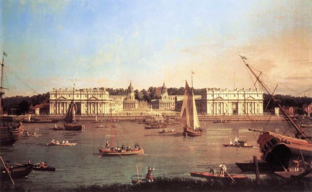 Peintures - L'hôpital de Greenwich depuis la rive gauche de la Tamise, par Canaletto - 1753.