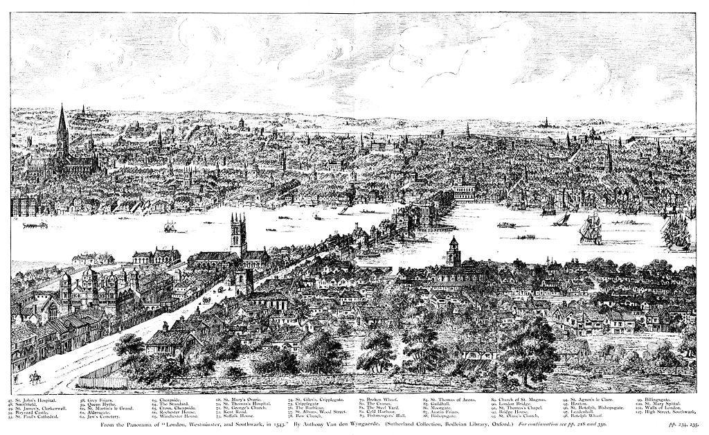 Panorama de Londres - Anthony Van den Wyngaerde 1543