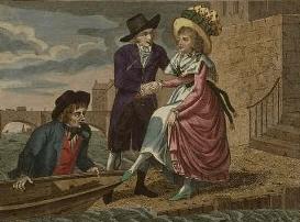 Dame embarquant à bord d'un bachot (wherry) au 18ème siècle.