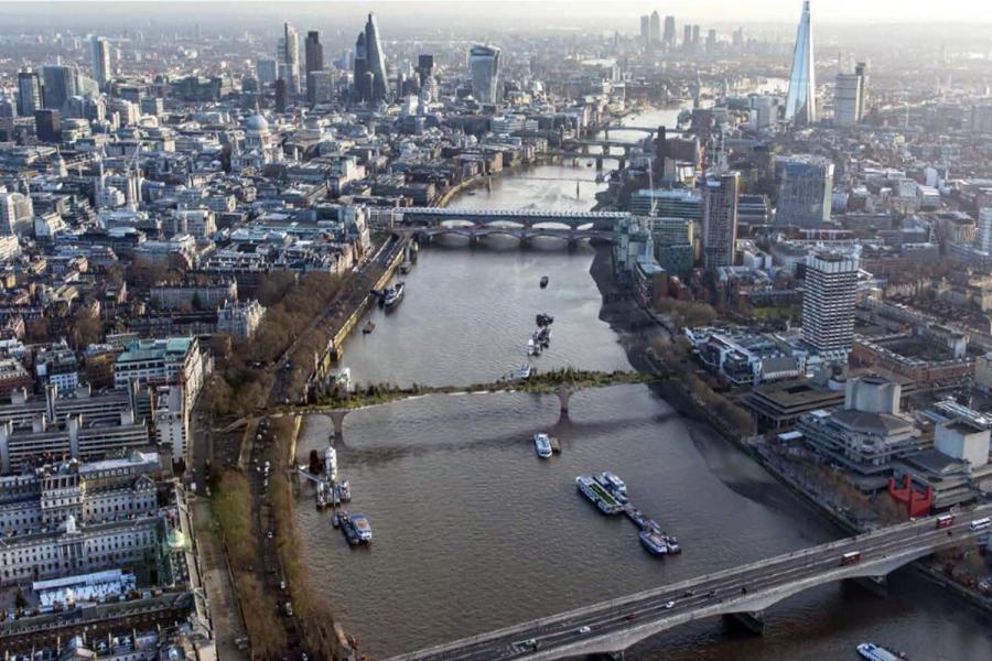 Projet du Garden Bridge vu du ciel