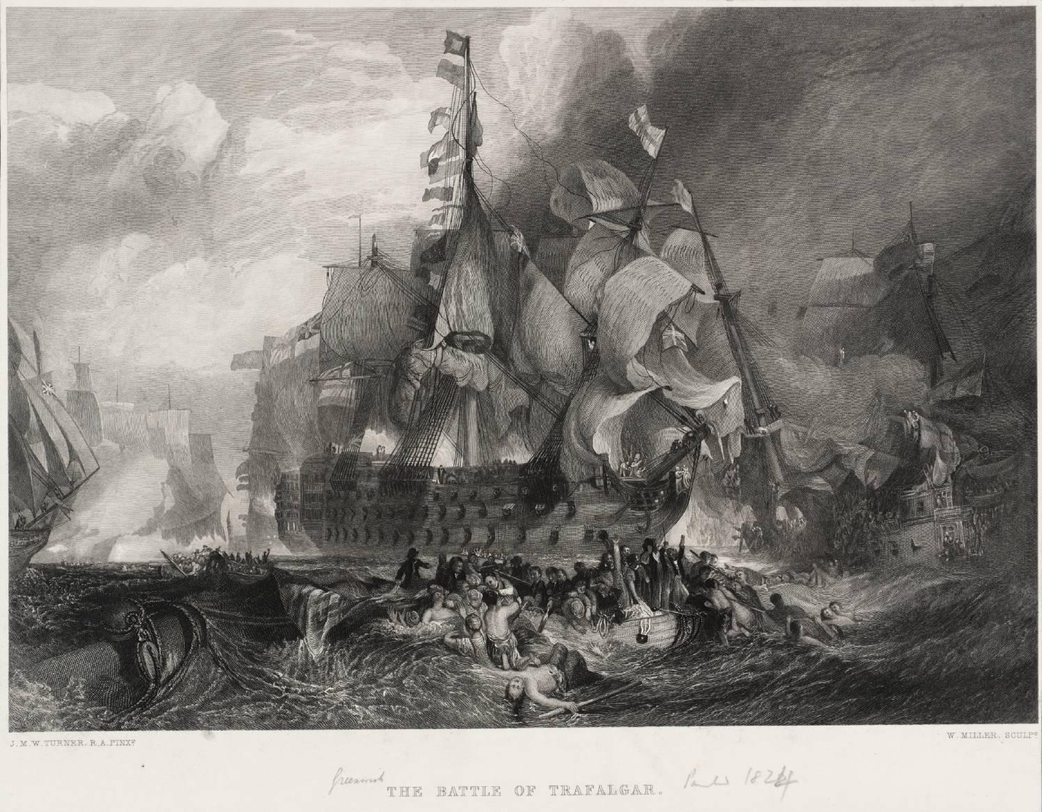 La bataille de Trafalgar, par J.M.W Turner.