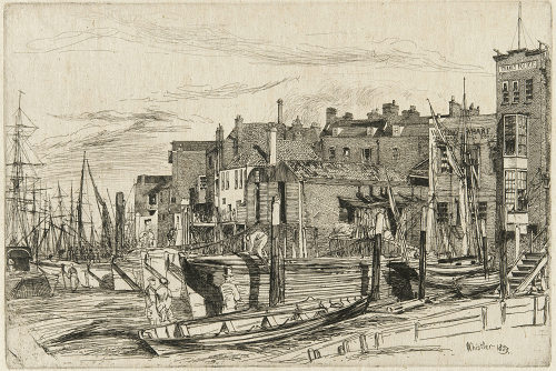 Bureau de la police marine de la Tamise, en 1859 (à droite).