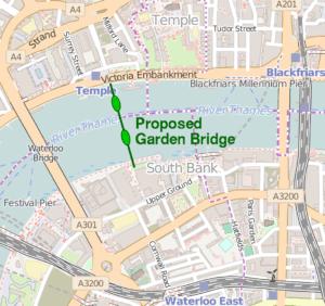 Emplacement proposé pour le Garden Bridge