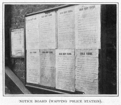 Wapping, liste des corps retrouvés dans la Tamise en 1901.
