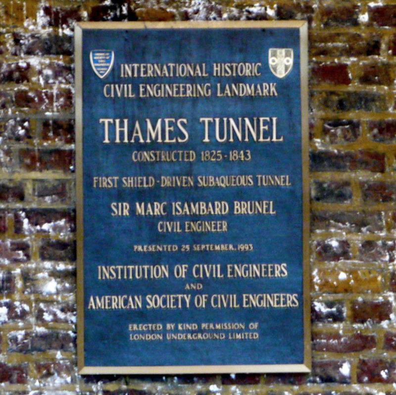 plaque commemorative thames tunnel 1843