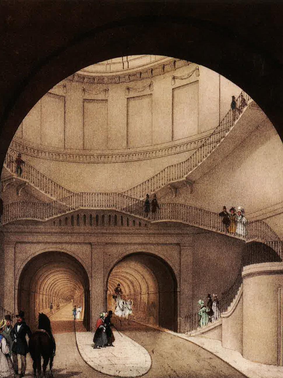Puits vertical d'accès au Thames Tunnel