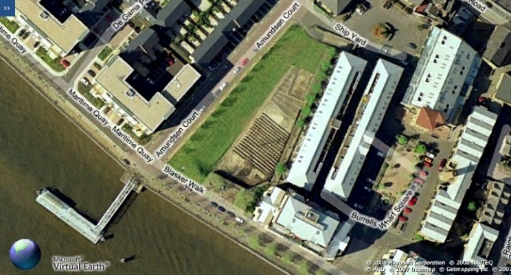 Site de lancement du Great Eastern vu du ciel, à Burrells Wharf, Isle of Dogs.