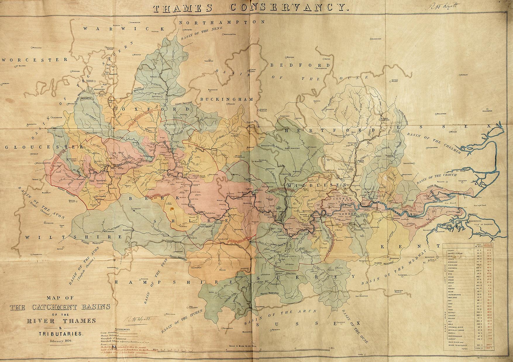 carte des affluents de la tamise